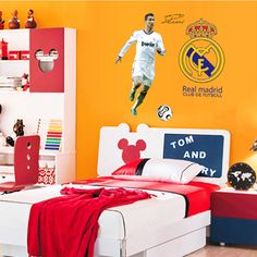 Uploadcool _Soccer star environmental protection removable stickers wall stickers children 's room home decoration wall stickers Custom Wall Stickers, Wall Decal Sticker, Decals, Ronaldo Real Madrid, Real Madrid Football, Ronaldo Football Player, Football Soccer, Boys Room Decor, Kids Room