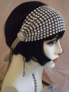 1920's Headpiece Flapper Headband Gatsby Silver Crystal Vintage