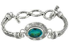 "Artisan Gem Collection Of Bali(Tm) 5.85 Ct Oval ""rainbow"" Green Quartz Triplet Silver Bracelet"