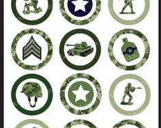 Verde ejército hombres 2 pulgadas ronda círculos para adhesivos, posavasos, etiquetas, colgantes, toppers Magdalena, alfileres y más