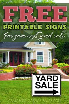 FREE Printable Yard Sale Signs - Running out of time? I have more than 15 free, proven printable yard sale signs for you to choose from. Yard Sale Signs, Garage Sale Signs, For Sale Sign, Garage Sale Advertising, Advertising Signs, Templates Printable Free, Free Printables, Yard Games For Kids, Diy Yard Decor