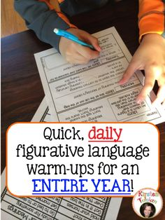 Daily figurative language warm-ups for 3rd-6th grade can be used as an early finisher, homework, or morning warm-up.  This DAILY FIGURATIVE LANGUAGE product covers Alliteration, Idioms, Similes and Metaphors, Proverbs and Adages, Onomatopoeia, Personification, and Hyperboles.  It is structured with a gradual release of responsibility and each figure of speech wraps around though out the entire year!  Check out the other figurative language products in my store too! Kirsten Tulsian