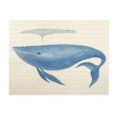 Big Blue Whale Canvas Wall Art