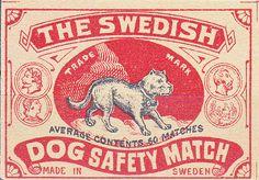 Dog Safety Match Matchbox label