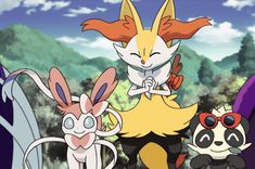 Sylveon, Braixen, and Pancham Pokemon Gif, Pokemon People, Pokemon Memes, Cool Pokemon, Pokemon Eeveelutions, Eevee Evolutions, Pokemon Ash And Serena, Cute Pikachu, Pokemon Pictures