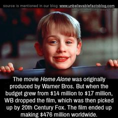 The movie Home Alone was originally produced by Warner Bros. Wierd Facts, Wow Facts, Real Facts, Wtf Fun Facts, True Interesting Facts, Interesting Facts About World, Intresting Facts, Amazing Facts For Students, Birthday Quotes Bff