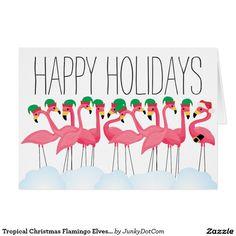 Tropical Christmas Flamingo Elves and Santa Card Oct 30 2016 @zazzle #junkydotcom  20x