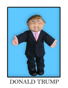 """""""You're Fired!"""" This #oneofakind Donald Trump Cabbage Patch Kid #CPK was custom handcrafted by the talented folks at Dynamic Designworks Inc. for auction to raise money for charity in conjunction with the copyright owner, Original Appalachian Artworks, Inc., and Jakks Pacific, the authorized licensee for the Cabbage Patch Kids brand in the US. #Trump #DDW"""