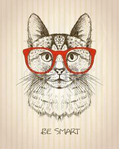 Poster gráfico do vintage com o gato do moderno com vidros vermelhos, contra o…