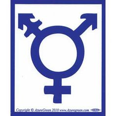 """With the intent of promoting equal rights, this bumper sticker portrays a transgender gender symbol upon it`s 3 1/2"""" by 3"""" expanse."""