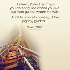 Qur'an al-Qasas (The Stories) 28:56:  Verily! You (O Muhammad SAW) guide not whom you like, but Allah guides whom He wills. And He knows best those who are the guided.