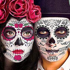 Skull Face Makeup, Halloween Makeup Sugar Skull, Sugar Skull Costume, Sugar Skull Makeup, Halloween Makeup Looks, Skeleton Face Paint, Sugar Skull Face Paint, Sugar Skulls, Skull Face Tattoo