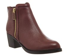 Ted Baker Jyion Zip Boots Dark Red Leather - Ankle Boots