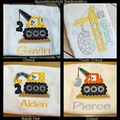 Construction-Builder-Birthday-Tshirt-Onesie-Baby-Boy-Party-Applique-Embroidery-Crane-Backhoe-Hard Hat-Bulldozer-Digger-Truck-Shirt-Cute on Etsy, $23.50