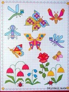 Graph Paper Drawings, Graph Paper Art, Easy Drawings, Blackwork, Perler Patterns, Zentangle Patterns, Drawing Lessons, Art Lessons, Drawing For Kids