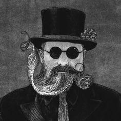 Beard Print - 'Beard Tie' etching by linocut boy on Etsy
