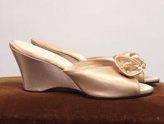 elegant bedroom slippers   White satin boudoir slippers. Indorables by Daniel Green. 1950's.