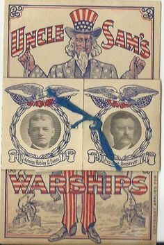 postcard: Uncle Sam's Warships with foldout pictures of ships & Teddy Roosevelt, Admiral Evans