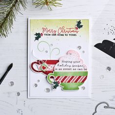Pickled Paper Designs: Papertrey Ink September Release - Merry Mug + Sentiment Staples: Christmas Christmas Paper Crafts, Merry Christmas Card, Holiday Cards, Christmas Ideas, Christmas Pickle, Silhouette Cameo Projects, Card Making Inspiration, Clear Stamps, Stampin Up Cards