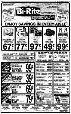 Vintage Bi-Rite Supermarket Ad, Vimco Spaghetti, March 28, 1990, Plain Dealer, Cleveland, OH, pg 11 (Viviano Macaroni Co, Carnegie, PA)
