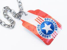 Patriotic tin tag #operationhomefront - support the homefront
