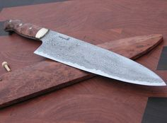 Pierre Rodrique stunning damascus chefs knife. Cool Knives, Knives And Swords, Knives And Tools, Handmade Chef Knife, Handmade Knives, Toy Kitchen, Kitchen Knives, Damascus Chef Knives, Chefs