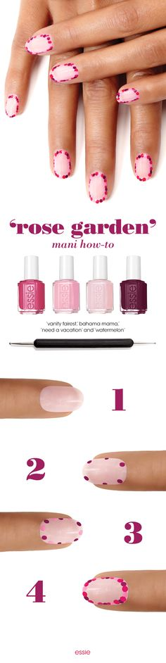 Get all dressed up with this fresh flowery nail art that's pink, purple and perfectly polished. Get the look: Prep nails with a coat of 'all in one'. Next apply two coats of 'vanity fairest' and let dry. Then dip your dotting tool in 'bahama mama' and create a ring of dots around the outside of your nail. Following the same outline create a ring of dots using 'need a vacation' and 'watermelon'. Seal the deal with an essie top coat. A perfect nail art look for Valentine's Day!