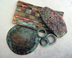 Anvil Artifacts: Patina Recipes scroll all the way through article...esp. see dusty blue green patina..use about tbsp red wine vinegar, add miracle grow for camellia and rhodys til no more will dissolve. use water instead of vinegar for more blue. use salt instead of miracle gro for greener.
