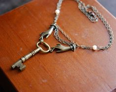 Antique skeleton key necklace with hands
