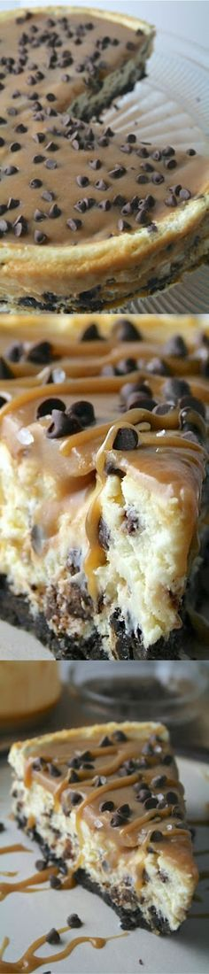 Salted Caramel Chocolate Chip Cheesecake Dessert Recipes - dessert, food, recipes