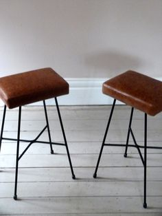 Pair of Tan Leather Counter Stools - Ormston Saint - Vintage Chairs