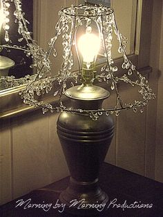 Crystal lamp shadetake fabric off old lampshade and string morning by morning productions a chandelier style skeleton lampshade keyboard keysfo Image collections