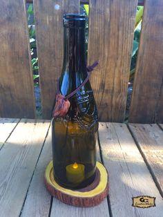 GC Creative Works Wine Bottle Art and Natural Wood Design Craft Wine Bottle Candle Holder, Wine Bottle Art, Lighted Wine Bottles, Bottle Lights, Candle Holders, Peoria Arizona, Arizona Usa, Recycled Bottles, Recycled Glass