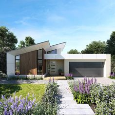 Like the beautiful Aire River in the Otway Ranges, the Aire 207 is a haven of tranquillity. Every aspect of this compact home has been designed to enhance light Facade Design, Roof Design, House Design, Facade House, House Roof, House Exteriors, Villas, Hotondo Homes, Modern House Facades