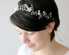 wedding flower crown whimsical wedding tiara bridal by LAmei