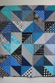 "Modern Baby Quilt ""Declan"" Contemporary Triangle Pattern in Vibrant Blue Fabrics; Baby, Toddler, or Lap Quilt, Play Mat; Wall Hanging by iheartbabyquilts, $89.00"