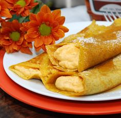 Whip up these French pancakes infused with pumpkin in the batter and filling. Much of these can be made ahead and kept warm until ready to assemble and serve.