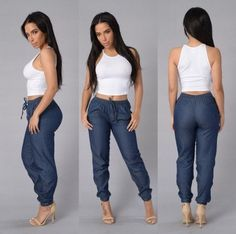 Buy Womens Elastic Waist Casual Pants Fashion Sexy High Waist Jeans Casual Blue Denim Pants Lady Long Slim Maxi Jeans Trousers at Wish - Shopping Made Fun Skinny Jeans Style, Casual Jeans, Casual Outfits, Cute Outfits, Casual Attire, Slim Jeans, Casual Chic, Fashion Pants, Fashion Outfits