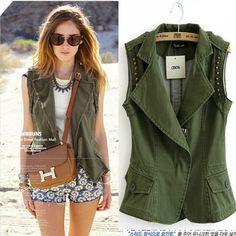 2013 nuevo otoño mujeres del dril de algodón verde del ejército chaleco de moda con el remache Epaulet Coat Pockets mangas Streetwear de la gota en Chalecos de Moda y Complementos Mujer en AliExpress.com | Alibaba Group