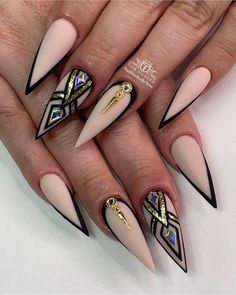 Hot Nail Designs, Beautiful Nail Designs, Nail Swag, Hot Nails, Hair And Nails, Gorgeous Nails, Pretty Nails, Nagellack Design, Stiletto Nail Art