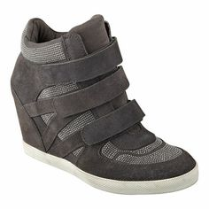 """High top 4"""" wedge sneaker with adjustable strap closures and rubber outsole."""