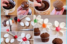 Yummy marshmallow Flower cupcake idea!
