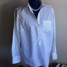 JCrew polka dot popover Loose oversized fit, front pocket, soft 100% cotton J. Crew Tops Blouses