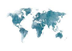 Weltkarte blau, Plakat - #blau #plakat #Weltkarte