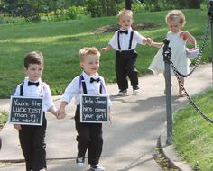 Chalkboard wedding sign for the ring bearer to carry.