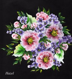 Painted by Hazel Lynn.Posy. one stroke painting.