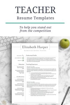 If you're looking for a teaching job, you know how important it is that your resume stands out! Give it a makeover TODAY with a professionally designed resume template + resume writing guide so you can be competitive in Get Landed Resume Advice, Resume Work, Resume Writing Tips, Writing Guide, Career Advice, Teaching Resume, Teaching Schools, Teaching Career, Teacher Resume Template