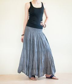 Smock Waist Crinkle Cotton Long Skirt Layered Stitches Gypsy Hippie Style (CR-Cool Gray)