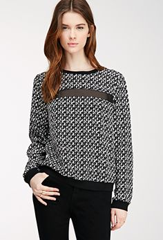 Abstract Print Mesh-Paneled Top | FOREVER21 - 2000118119