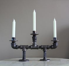 Three candle candelabra by ArtfulForger on Etsy, $84.00